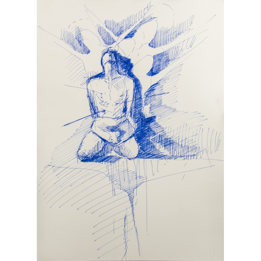 """Lot 43 - RICCARDO NEGRI (Aderente alla scuola di Noto) BIRO su cartone """"Figura"""", datato 2011, firma e"""