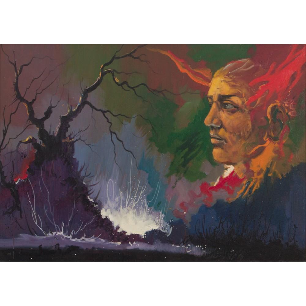 "Lot 46 - ROMANO MUSSOLINI (Forli' 1927 - Roma 2006) OLIO su tela ""Il Duce"". Misure: cm 50 x 70"