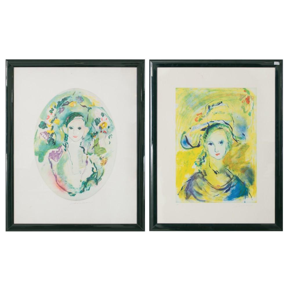 """Lot 3 - ERNESTO TRECCANI (Milano 1920 - 2009) DUE LITOGRAFIE a colori prova d'autore """"Figure femminili""""."""
