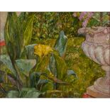 """Lot 47 - LUCIA RAGUSA (Catania XX secolo) OLIO su cartone intelato """"Il giardino di romana"""", firmato in"""