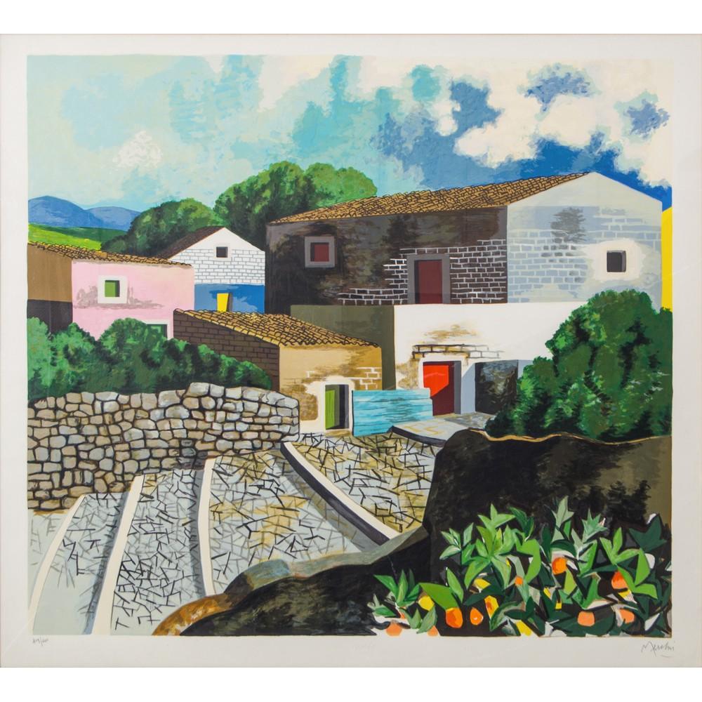 """Lot 8 - RENZO MESCHIS (Palermo 1945) LITOGRAFIA a colori """"Tetti di Sicilia"""", esemplare 109/200. Misure: cm"""