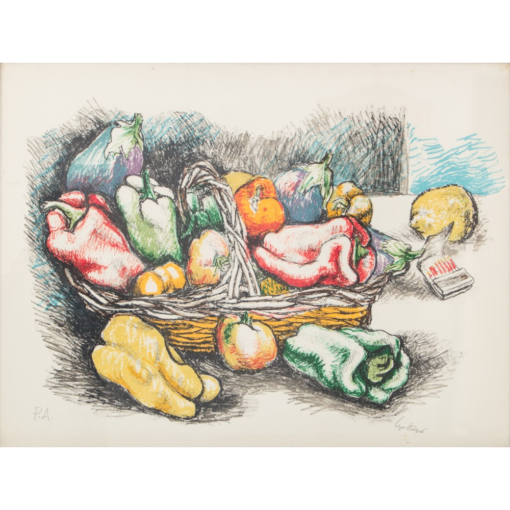 """Lot 17 - RENATO GUTTUSO (Bagheria (PA) 1911 - Roma 1987) LITOGRAFIA prova d'autore """"Cesto con verdure""""."""