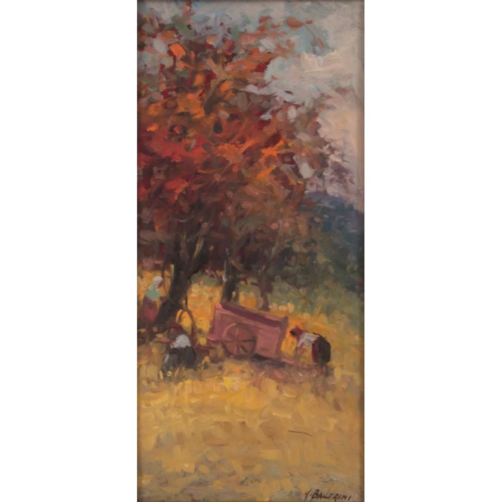 """Lot 45 - UBALDO BALLERINI (1927) OLIO su tavoletta """"Viti in autunno"""", firmato in basso a destra e nel"""