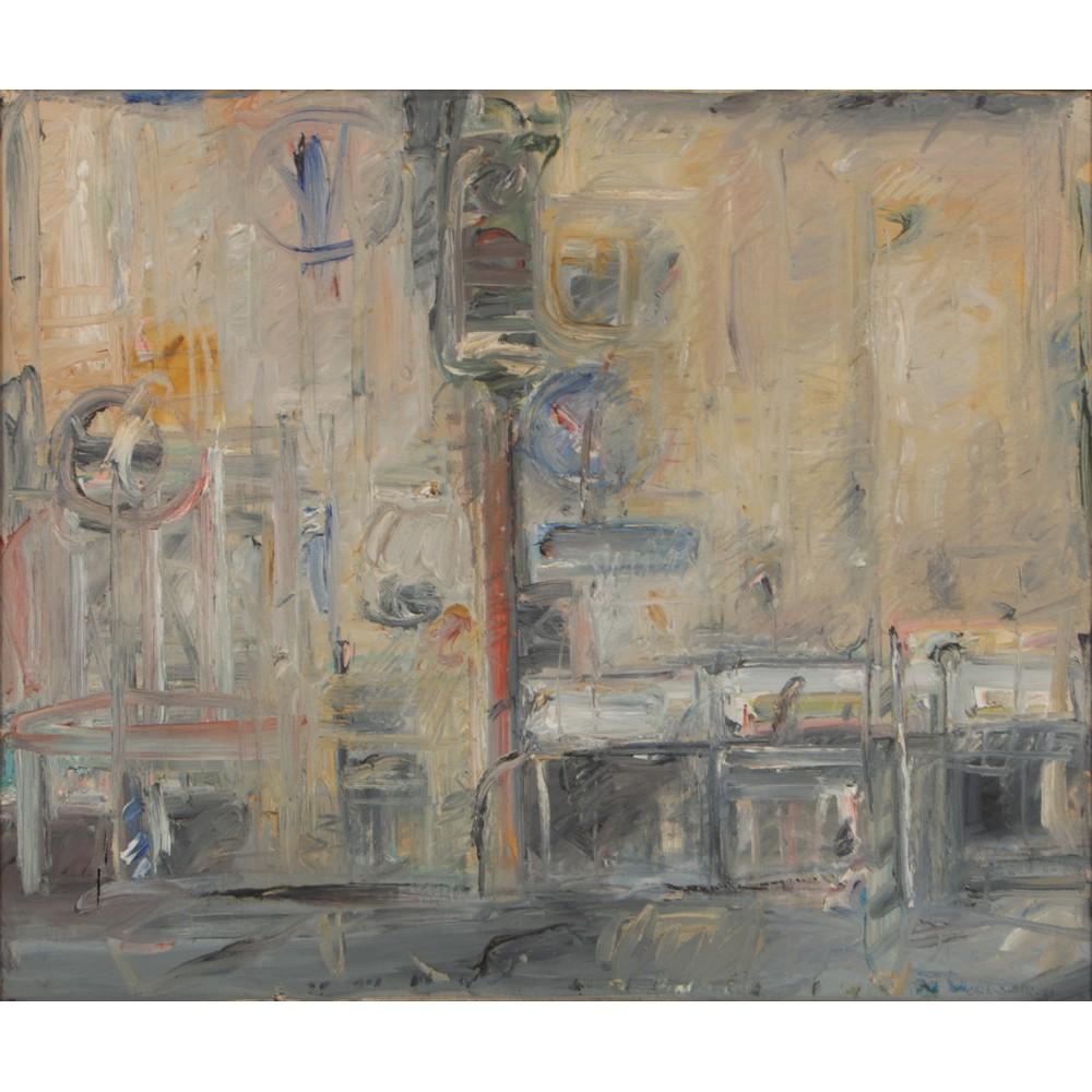 """Lot 50 - FOLCO CHITI BATELLI (Firenze 1932 - 2011) OLIO su tela """"Scorcio cittadino - 1972"""", firmato in"""