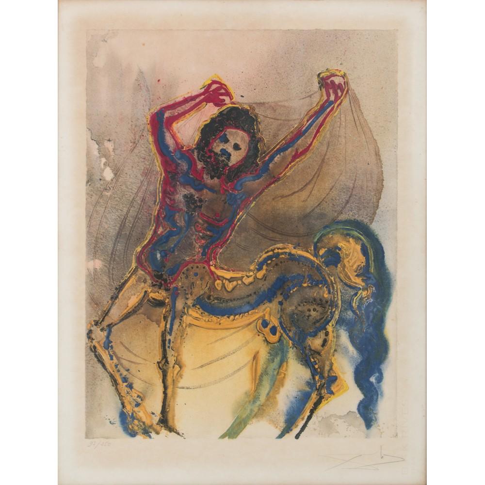 """Lot 25 - SALVADOR DALI' (Figueres 1904 - 1989) LITOGRAFIA """"Centauro"""", esemplare 97/250. Misure: cm 64 x 49"""