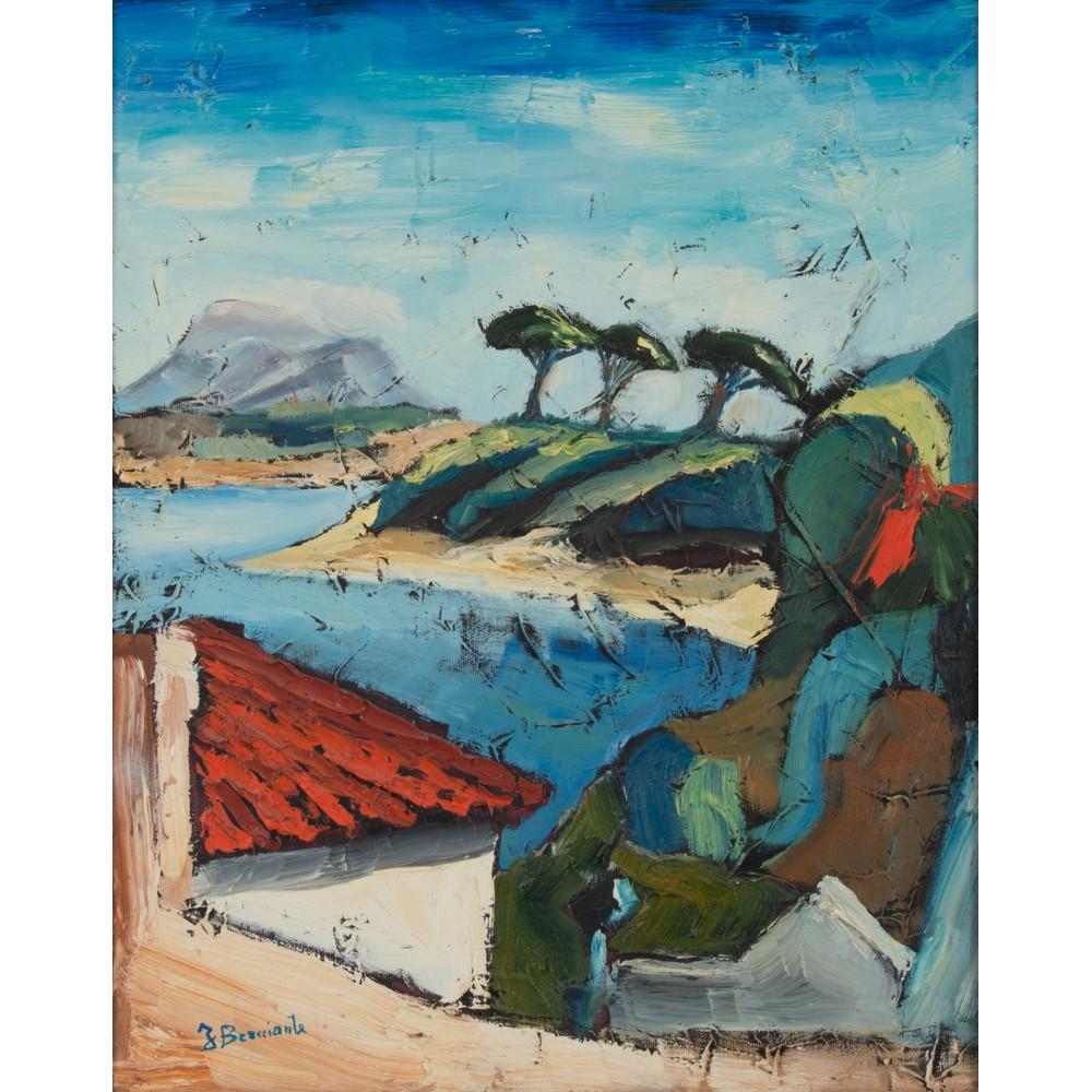 """Lot 48 - FRANCESCO BRACCIANTE (Messina 1947) OLIO su tela """"Mazzaforno"""" datato 1989, firmato in basso a"""