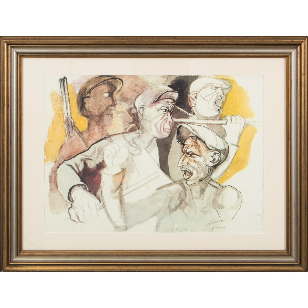 """Lot 33 - RENATO GUTTUSO (Bagheria (PA) 1911 - Roma 1987) LITOGRAFIA """"Personaggi"""", datata 1946. Misure: cm"""