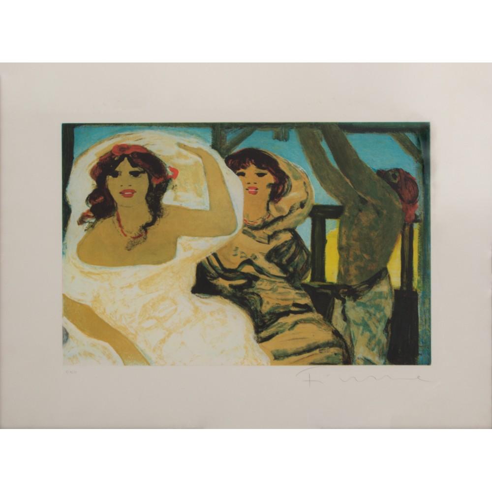"""Lot 4 - SALVATORE FIUME (Comiso 1915 - Milano 1997) INCISIONE a colori """"Personaggi"""", esemplare V/XCVI."""