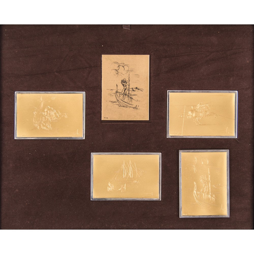 Lot 16 - SALVADOR DALI' (Figueres 1904 - 1989) QUATTRO LASTRE in oro 24 Kt. (g. 3 circa cad.) e argento