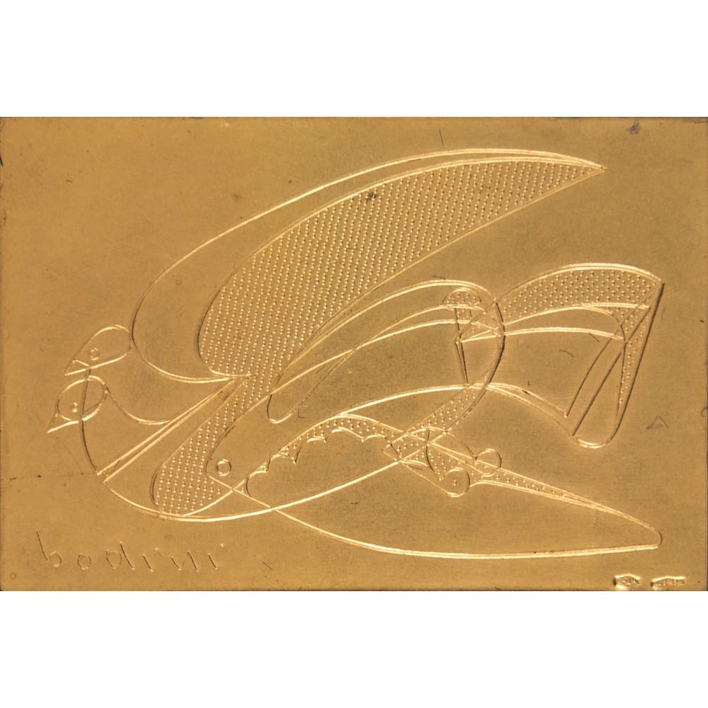 Lot 2 - FLORIANO BODINI (Gemonio (Va) 1933 - Milano 2005) LASTRA in oro 24 Kt (g. 1 circa) e argento (g.