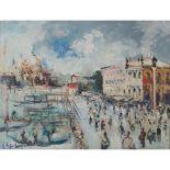 """Lot 57 - EMANUELE CAPPELLO (Vittoria (Rg) 1936) OLIO su tela """"Venezia"""". Misure: cm 60 x 80"""