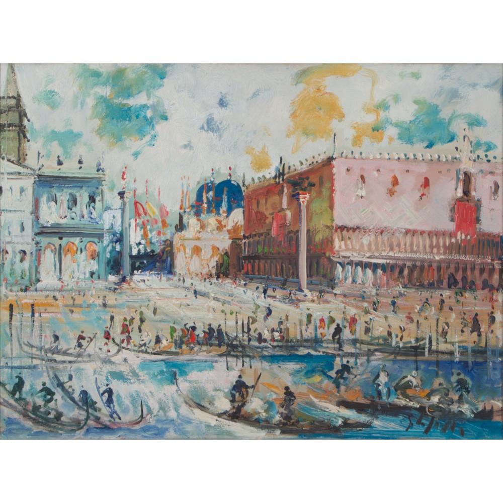 """Lot 56 - EMANUELE CAPPELLO (Vittoria (Rg) 1936) OLIO su tela """"Venezia"""". Misure: cm 60 x 80"""