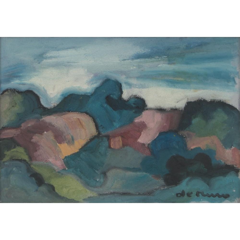 """Lot 54 - ANTONIO DE MURO (1924) OLIO su masonite """"Paesaggio"""", firmato in basso a destra. Misure: cm 50 x 70"""