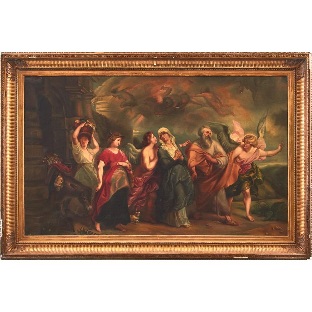 """Lot 796 - PITTORE DEL XIX SECOLO OLIO su tela """"Lot in fuga da Sodoma e Gomorra (copia dell'opera di Pieter"""
