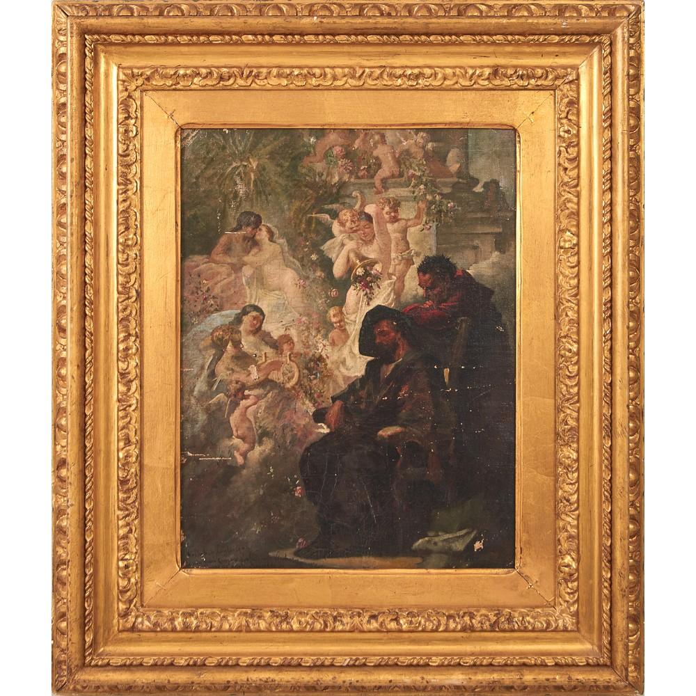 "Lot 594 - LEONARDO DE MANGO (Bisceglie 1843 – Istanbul 1930) OLIO su tela applicato su cartone ""Esame della"