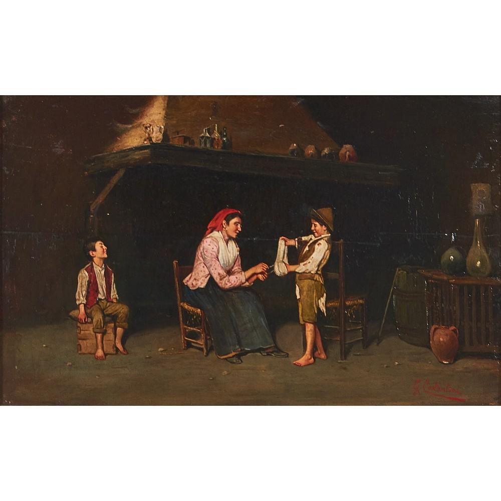 """Lot 1035 - GIUSEPPE COSTANTINI (Nola 1844 - San Paolo Belsito 1894) OLIO su tavola """"Interno con personaggi""""."""