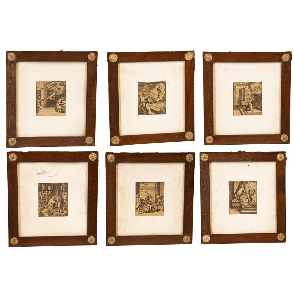"""Lot 643 - SEI STAMPE in bianco e nero """"Scene sacre"""" entro cornice in mogano. Fine XIX secolo Misure: cm 11 x"""