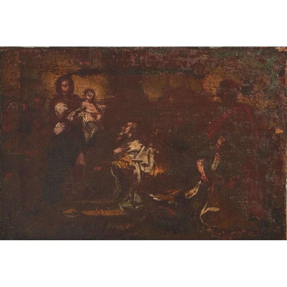 """Lot 785 - PITTORE SICILIANO DEL XVIII SECOLO OLIO su tela applicato su tavola """"Presentazione ai Re Magi"""""""