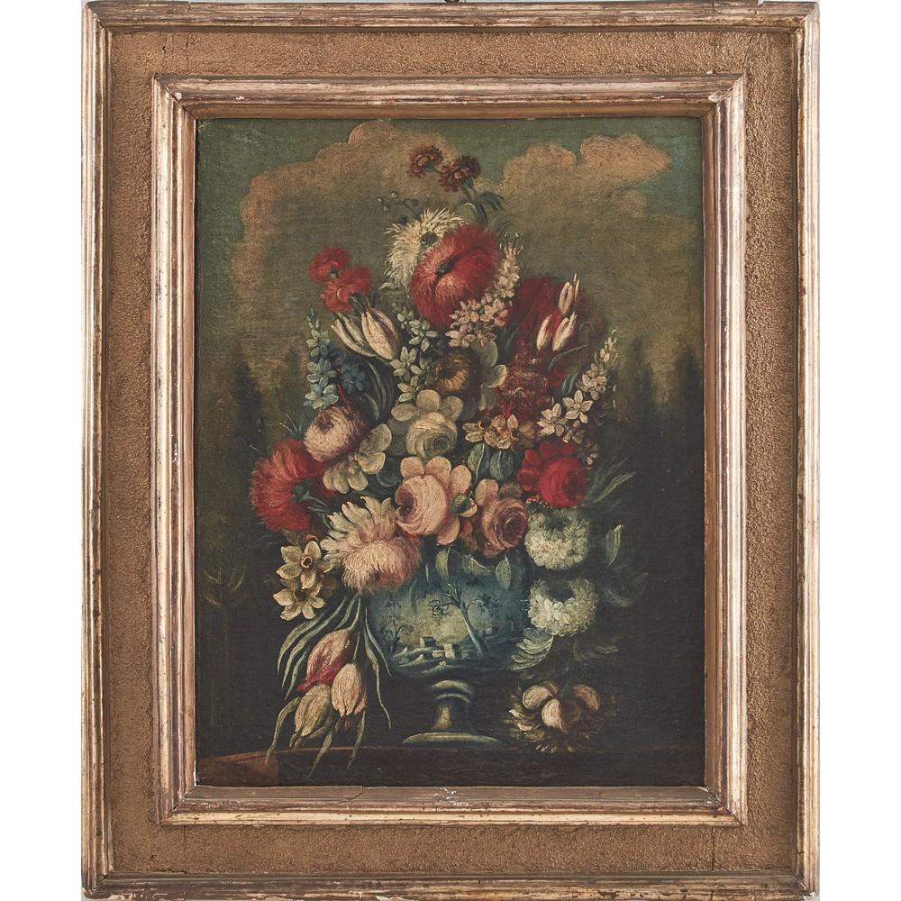 """Lot 315 - NICOLA CASSISSA (attr.le) (Napoli ? - 1731) COPPIA OLI su tela """"Vasi con fiori"""". Misure: cm 65 x 80"""