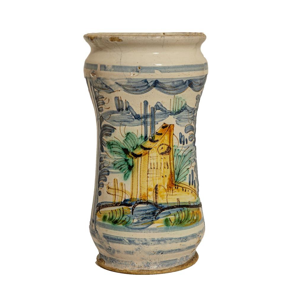 Lot 61 - ALBARELLO in ceramica Castelli smaltata e decorata (rotture). Fine '700 Misure: h cm 20