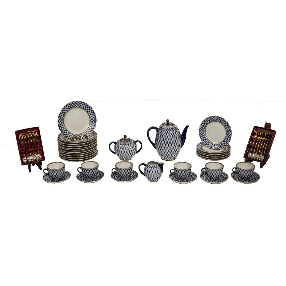 Lot 247 - SERVIZIO da caffe' in porcellana Lomonosov Imperial composto da CAFFETTIERA, ZUCCHERIERA,