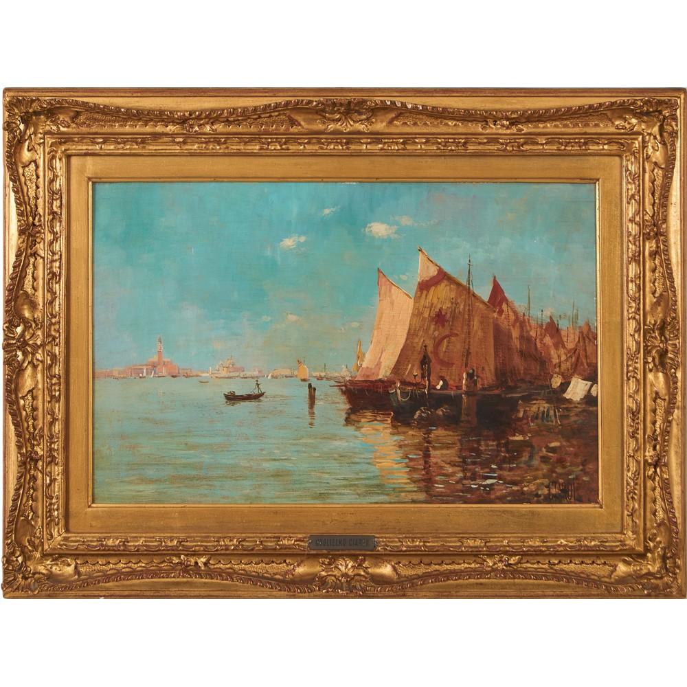 """Lot 294 - GUGLIELMO CIARDI (Venezia 1842 - 1917) OLIO su tavoletta """"Veduta della laguna di Venezia e Piazza"""
