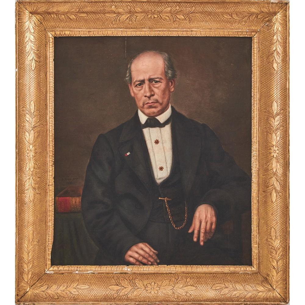 """Lot 601 - SALVATORE SACCO (Attivo in Sicilia fra il 1855 e il 1876) OLIO su tela """"Gentiluomo"""", firmato in"""