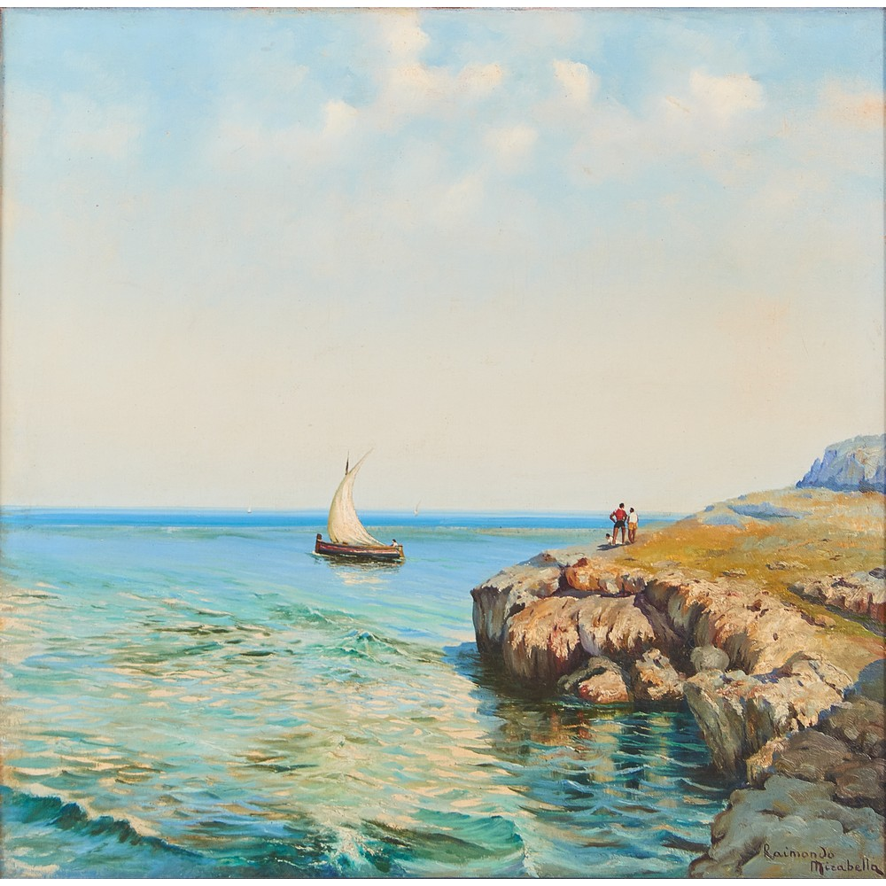 """Lot 792 - RAIMONDO MIRABELLA (Palermo 1914 - 1979) OLIO su tela """"Paesaggio marino con barca e personaggi"""","""