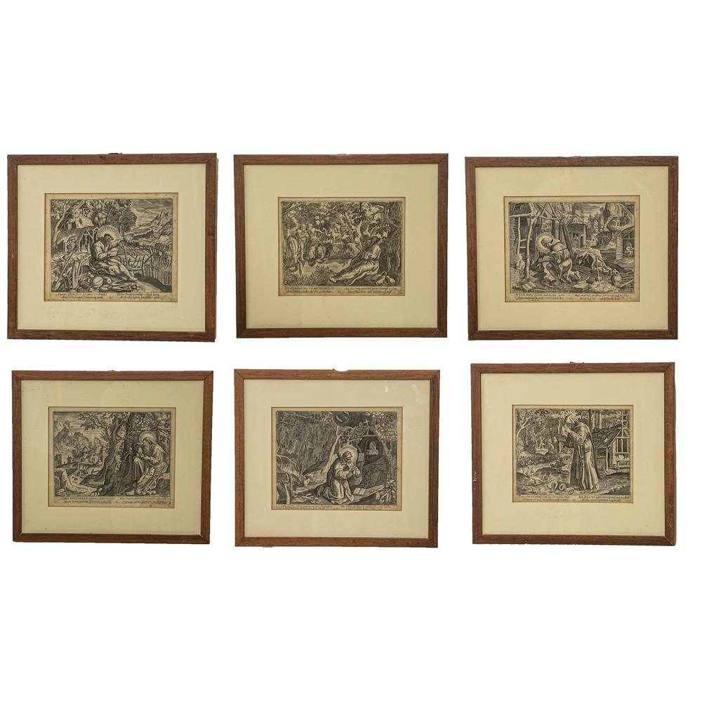 """Lot 453 - SEI INCISIONI """"Scene Sacre"""". Meta' XIX secolo Misure: cm 16 x 20"""
