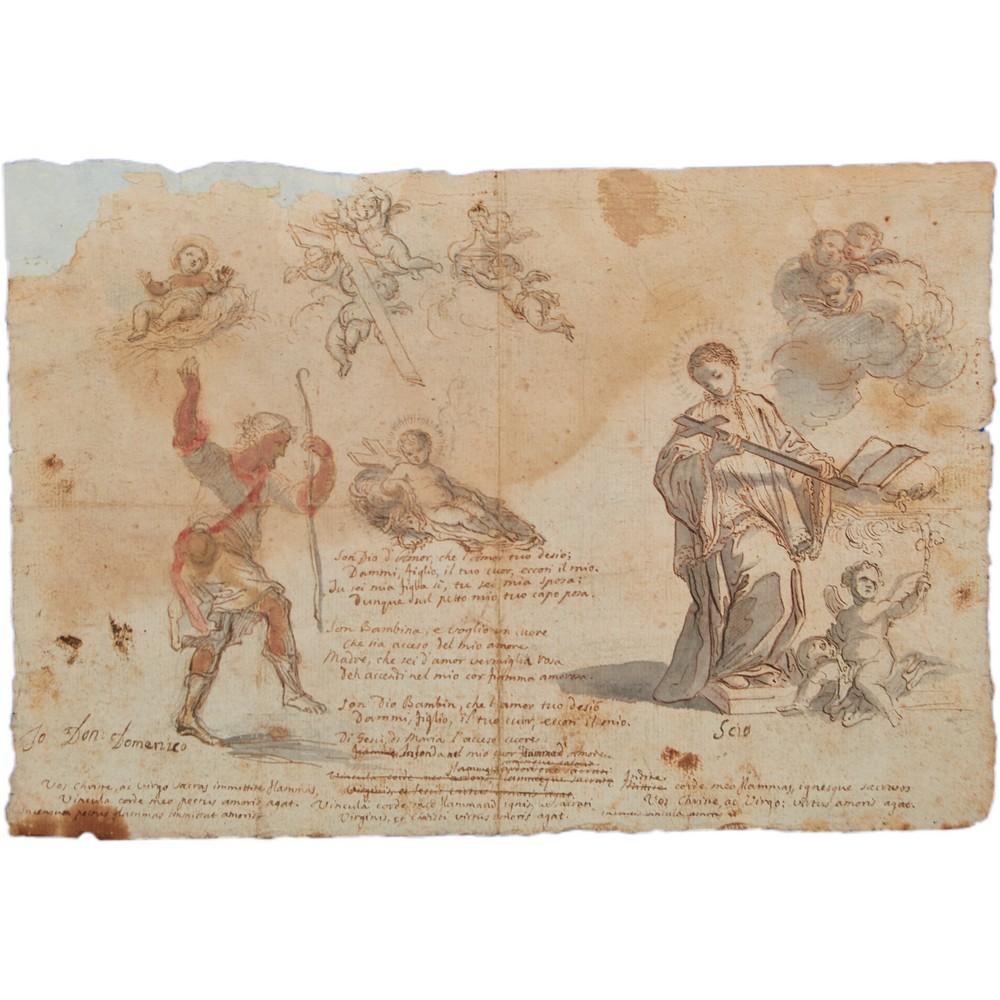 Lot 829 - PADRE FEDELE DA SAN BIAGIO (1717 - 1801) DISEGNO eseguito ad acquarello con trascrizione di