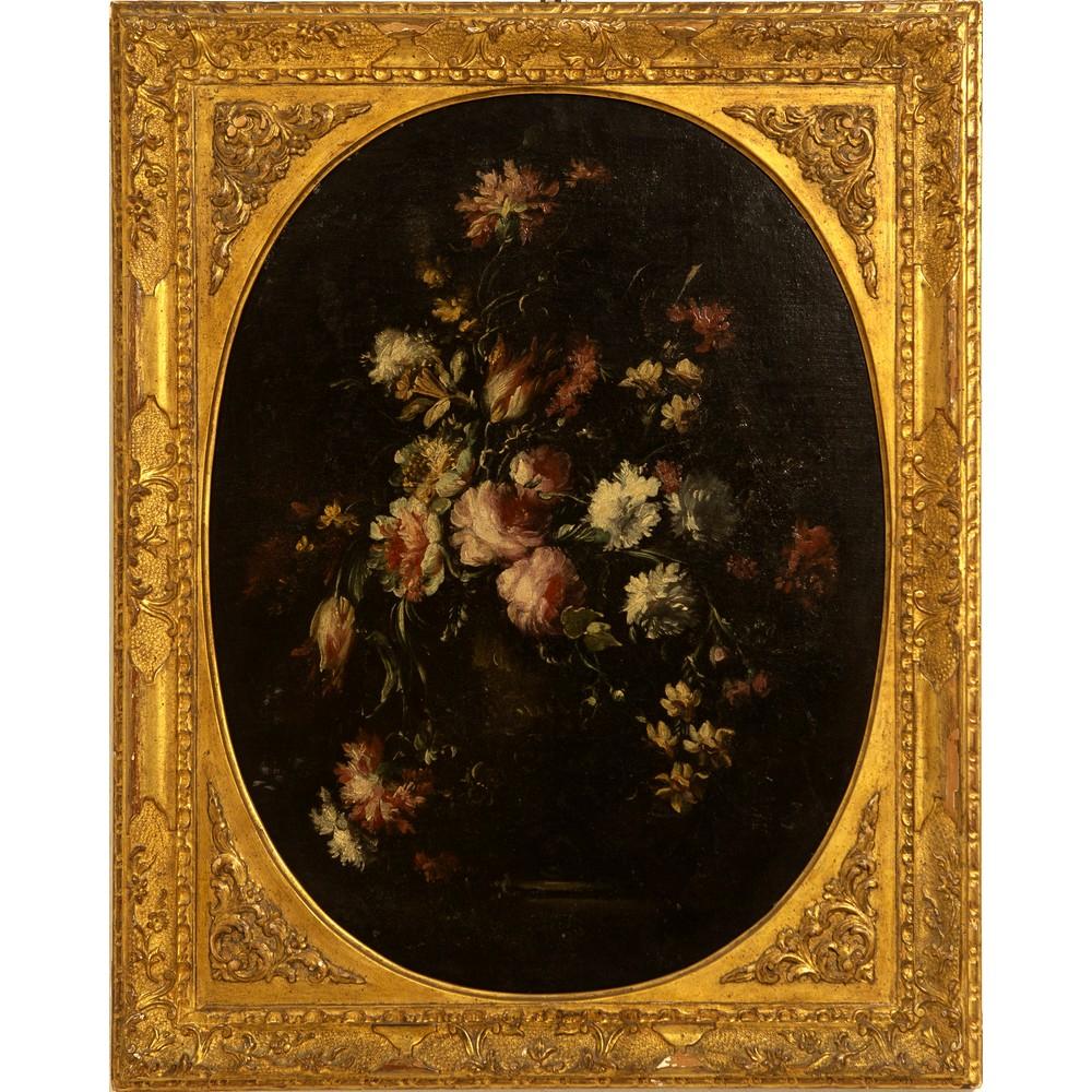 """Lot 1042 - ANDREA SCACCIATI (Firenze 1642 - 1710) COPPIA OLI su tela """"Composizioni di fiori entro vasi"""