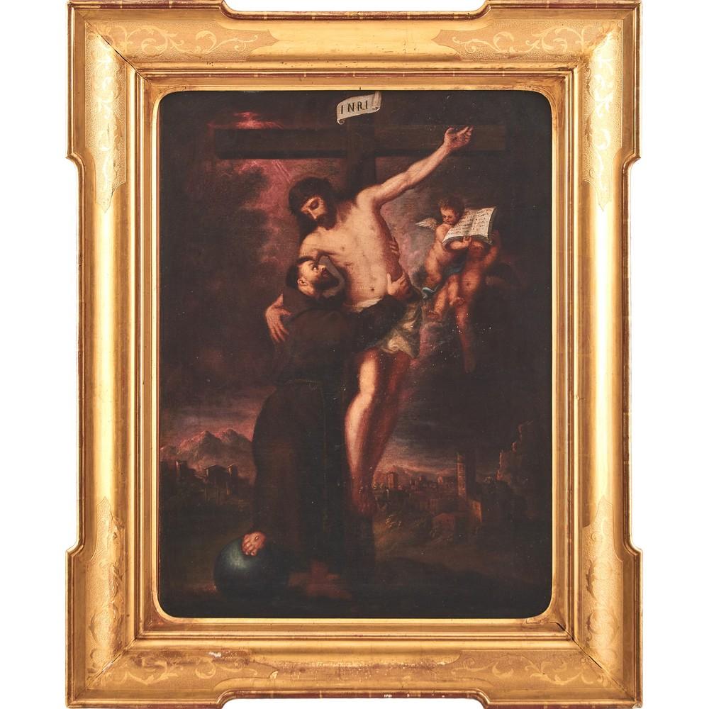 """Lot 794 - SCUOLA ITALIANA DEL XVIII SECOLO OLIO su tela """"Visione di San Francesco d'Assisi che abbraccia il"""