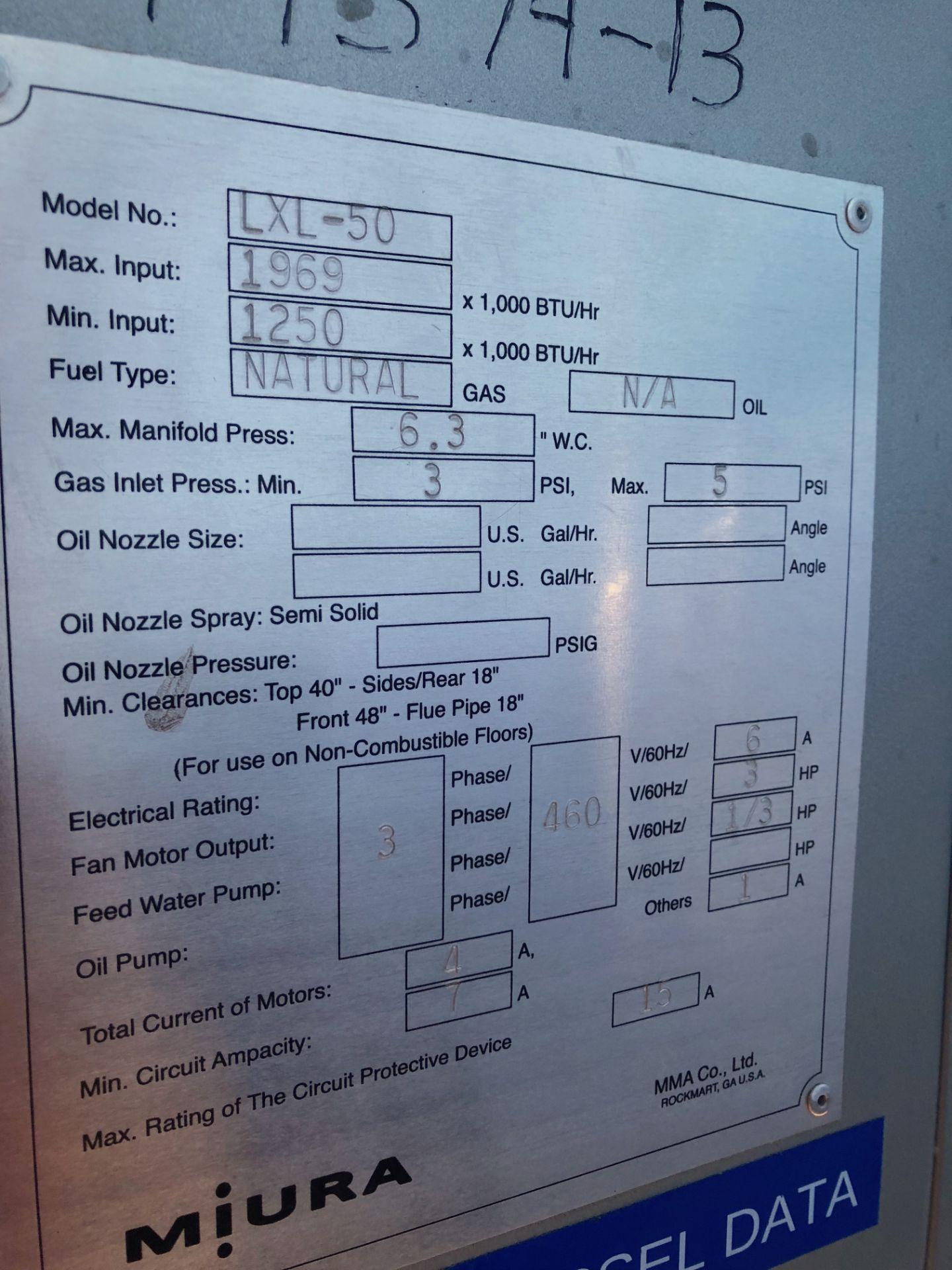 Lot 11 - Miura LXL-50 Low Pressure Steam Boiler