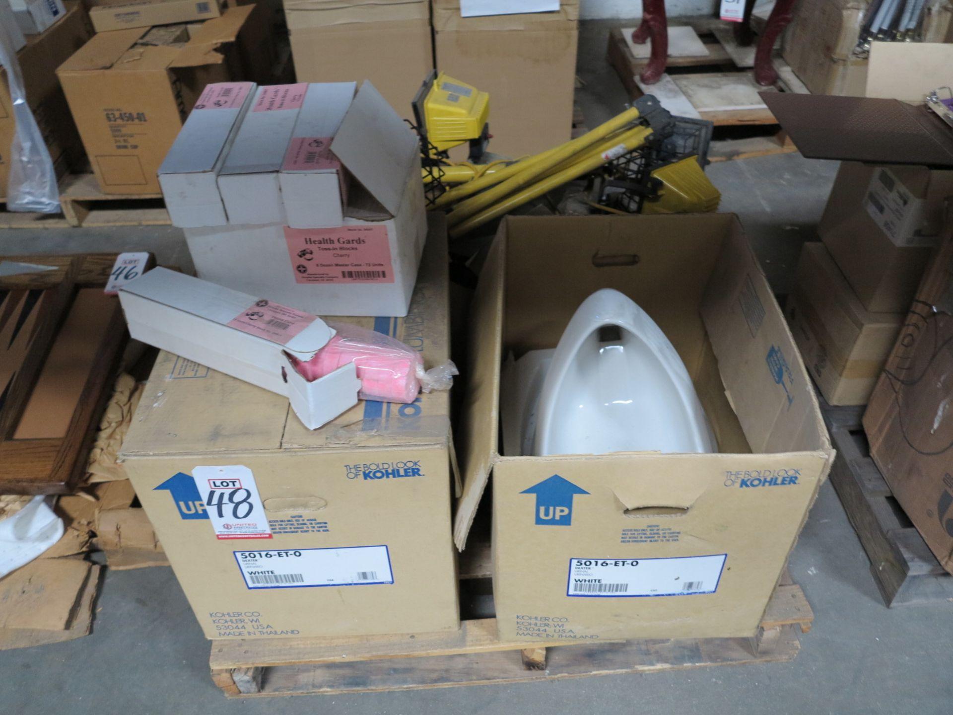 Lot 48 - LOT - (2) KOHLER URINALS, WHITE, MODEL DEXTER 5016-ET-0, WORK LIGHTS, URINAL SANITIZERS