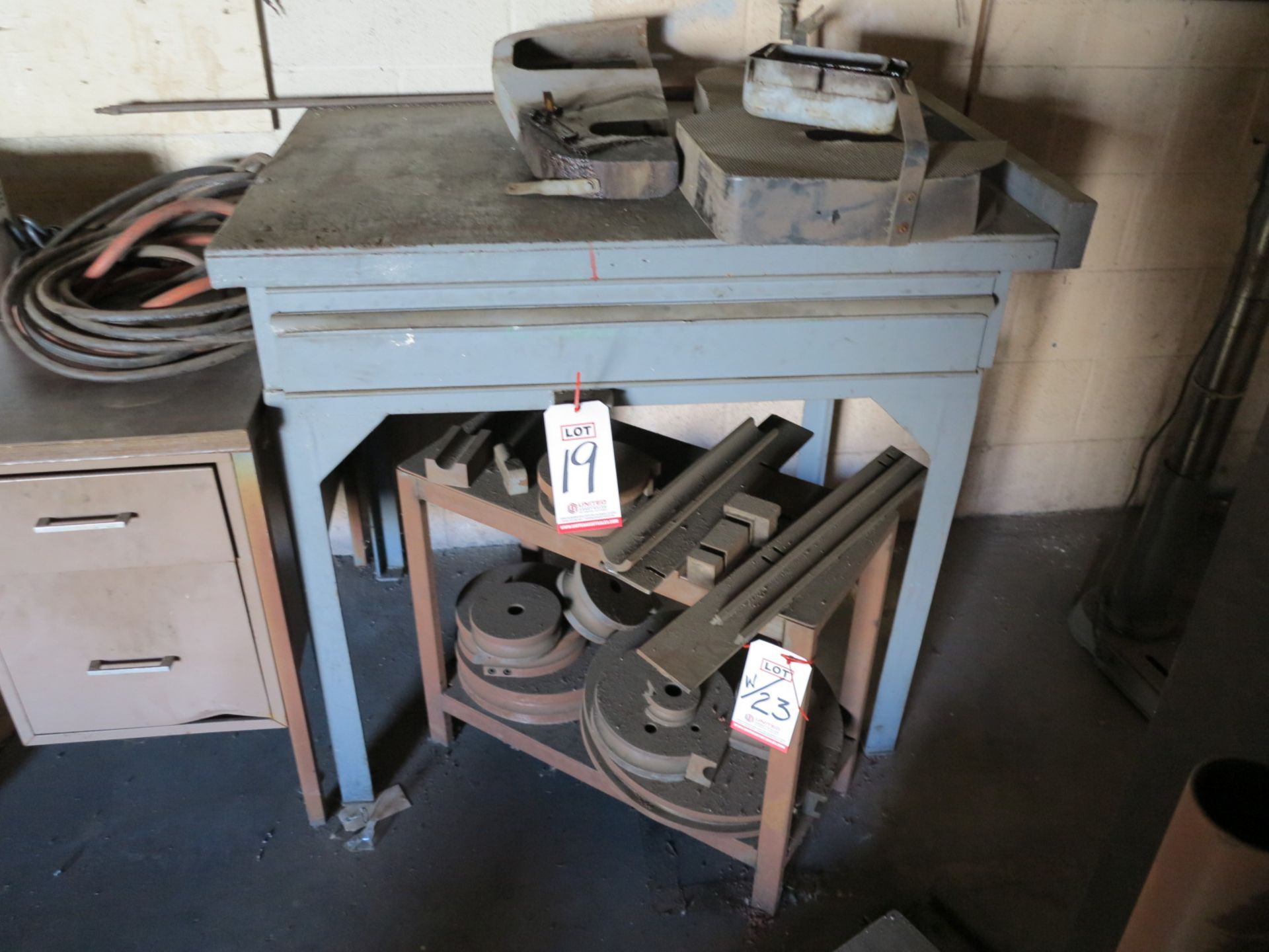 Lot 19 - LOT - (2) DESKS W/ CONTENTS OF MAINTENANCE SUPPLIES AND (2) 36 VOLT BATTERY CHARGERS