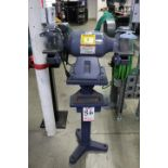 """BALDOR DOUBLE END GRINDER, 8"""", W/ GUARDS, PEDESTAL STAND AND COOLING TRAY"""