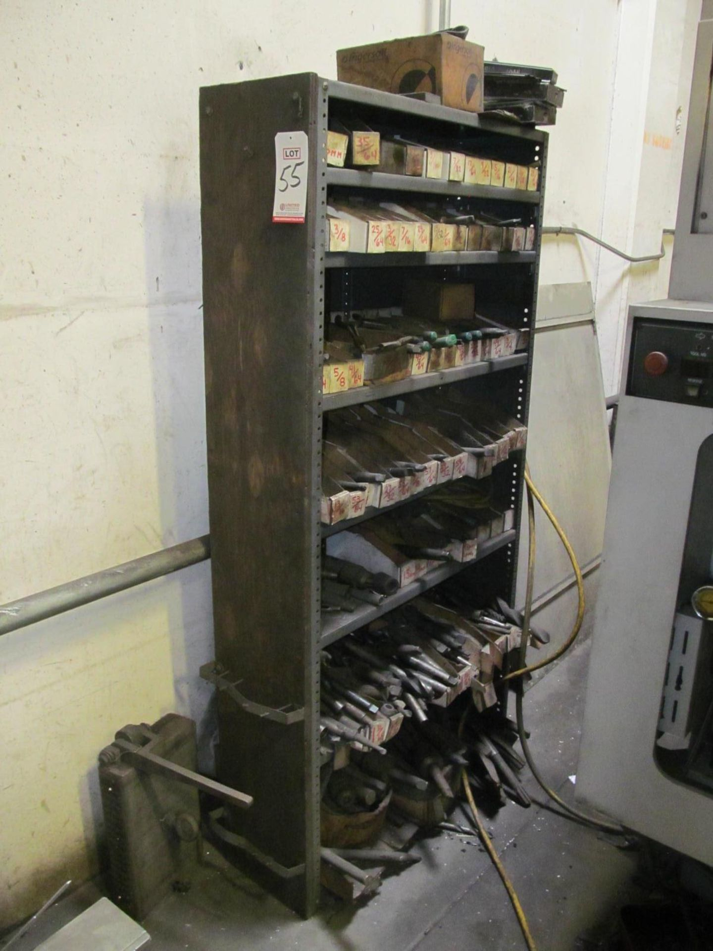 Lot 55 - LOT - STEEL SHELF W/ ASSORTED DRILLS