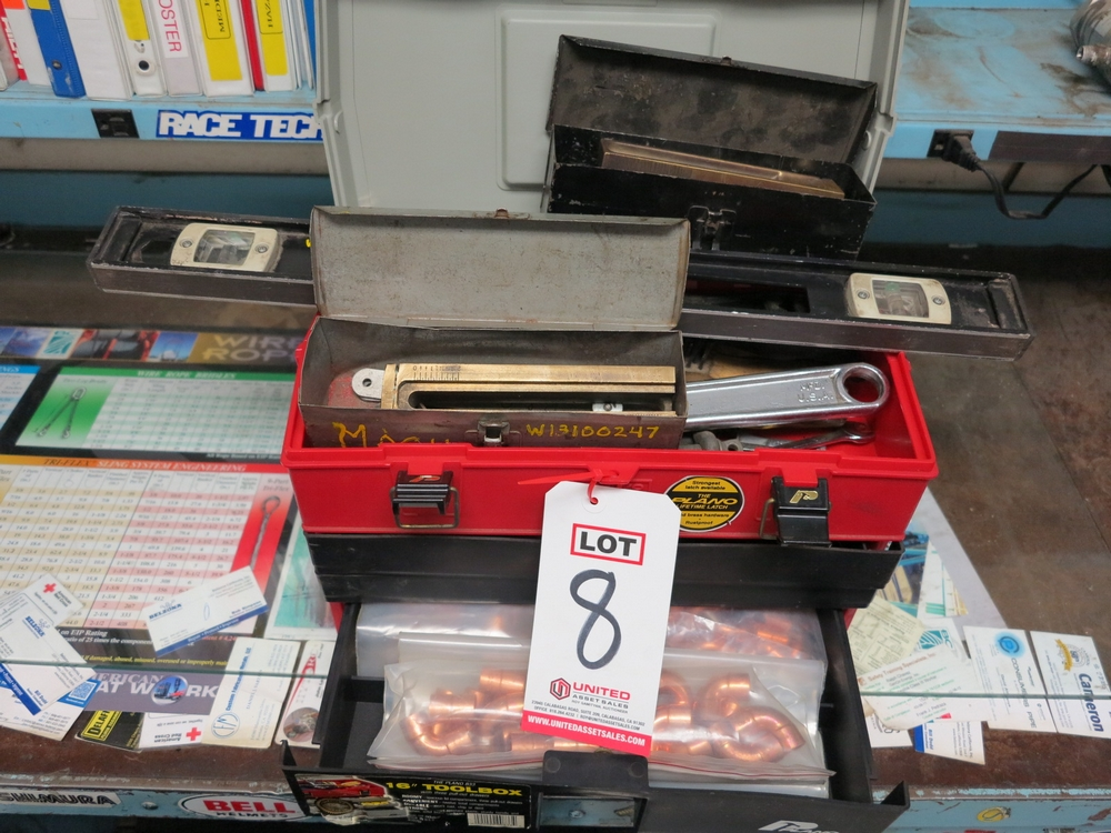 """Lot 8 - LOT - PLANO 833 16"""" PLASTIC TOOLBOX W/ CONTENTS OF (2) GASKET CUTTER SETS, MISC HAND TOOLS, COPPER"""