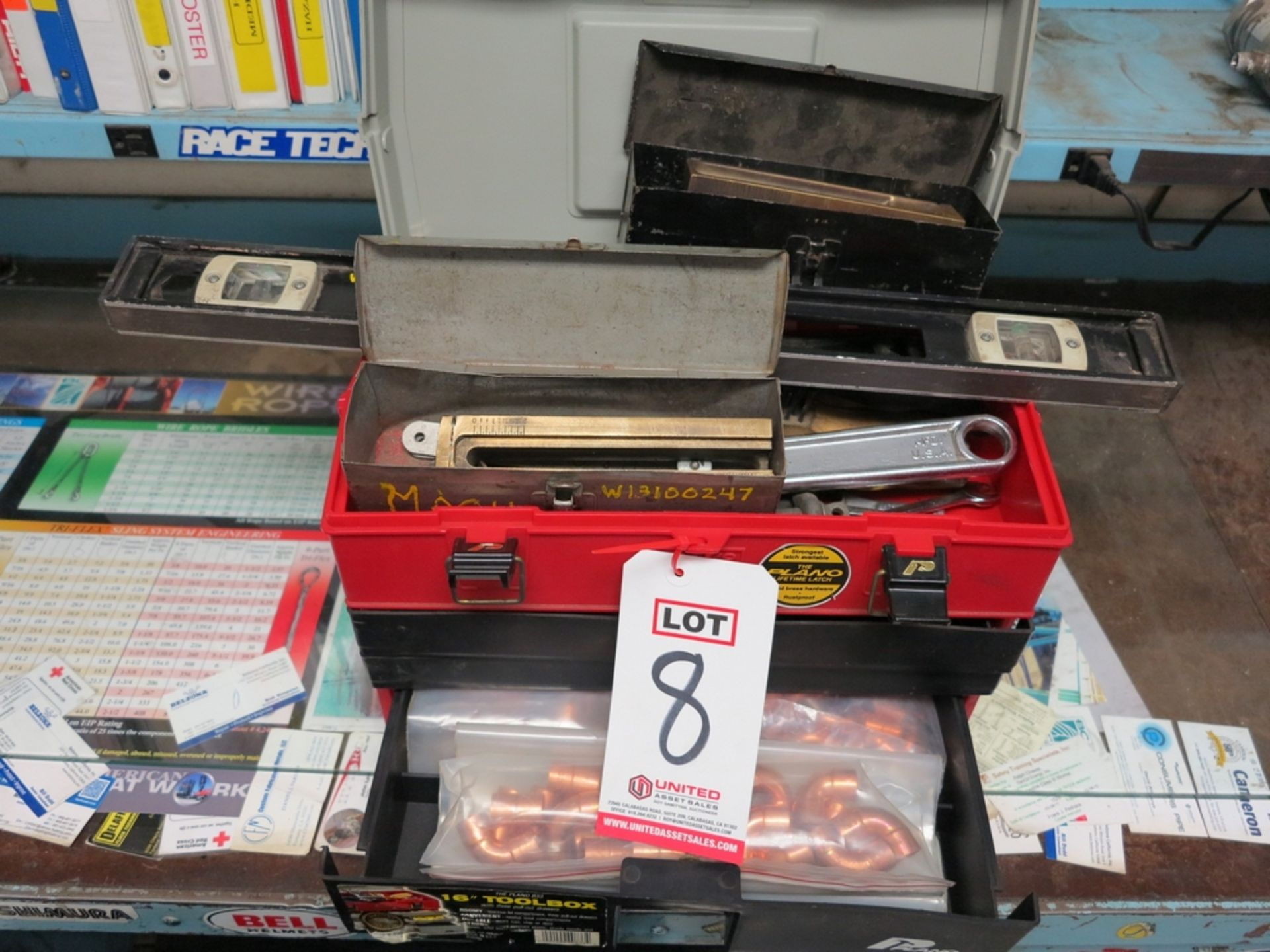 "Lot 8 - LOT - PLANO 833 16"" PLASTIC TOOLBOX W/ CONTENTS OF (2) GASKET CUTTER SETS, MISC HAND TOOLS, COPPER"