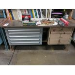 Lot 11 - LOT - LISTA 5-DRAWER PARTS CABINET W/ CONTENTS AND 3-DRAWER STEEL WORKBENCH