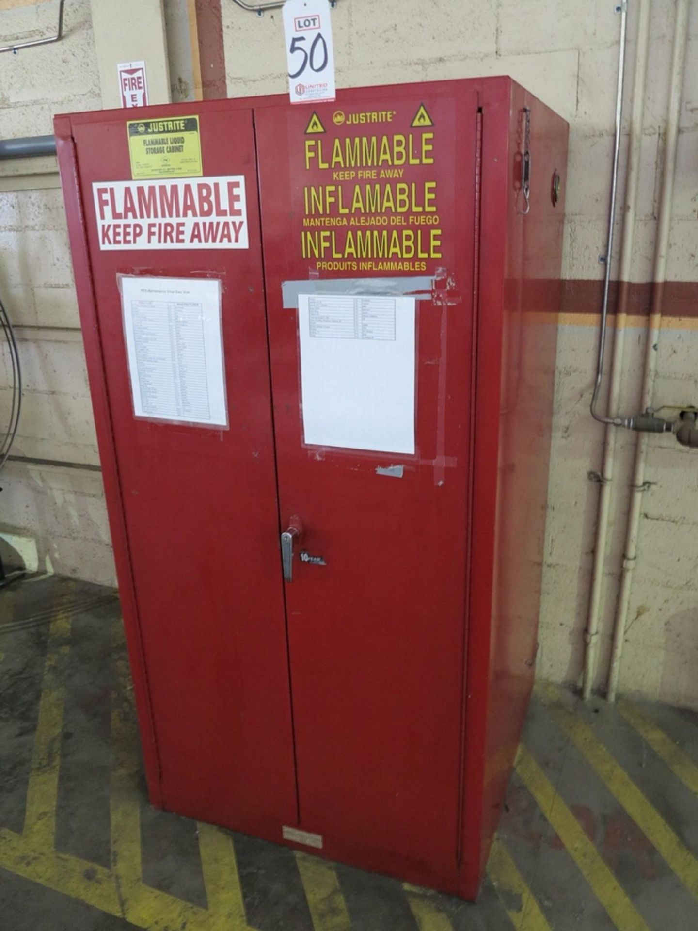 Lot 50 - JUSTRITE FLAMMABLE LIQUID STORAGE CABINET, NO. 25600, 60 GALLON CAPACITY