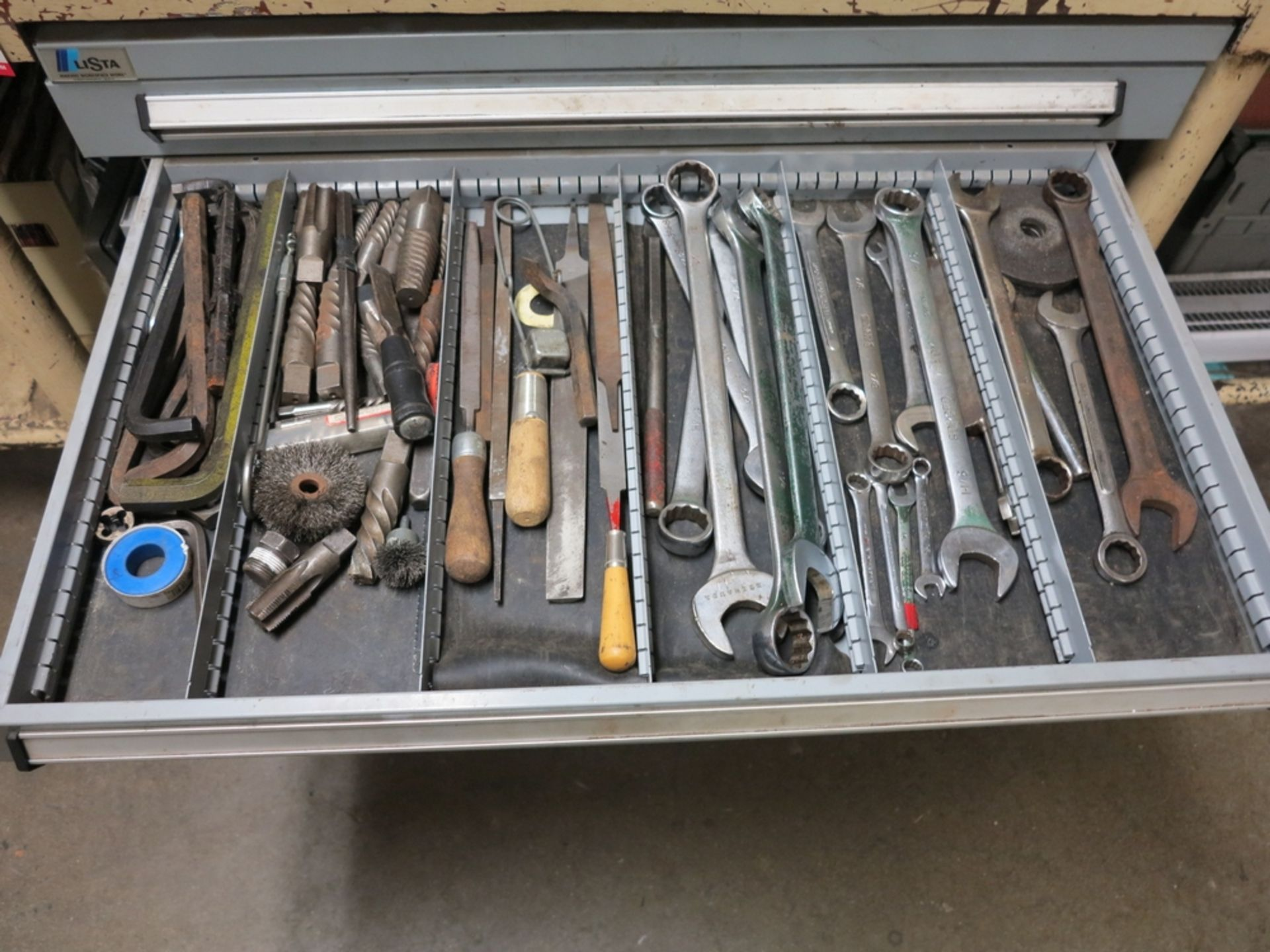 "Lot 12 - LOT - STEEL WORKBENCH, HEAVY DUTY W/ 4-1/2"" BENCH VISE, 147"" X 48"", INCLUDES 5-DRAWER LISTA PARTS"