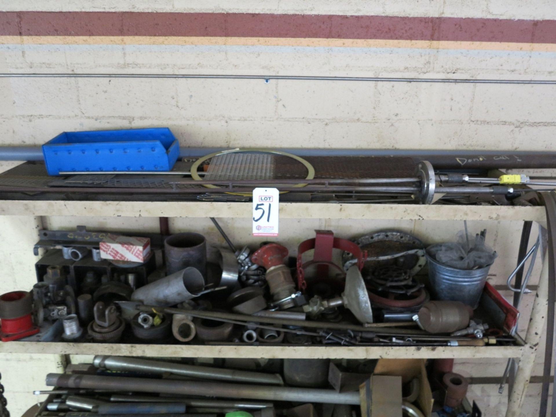 Lot 51 - HEAVY DUTY STEEL SHELF UNIT W/ CONTENTS OF MISC STEEL PIPE, SCRAP, ETC.