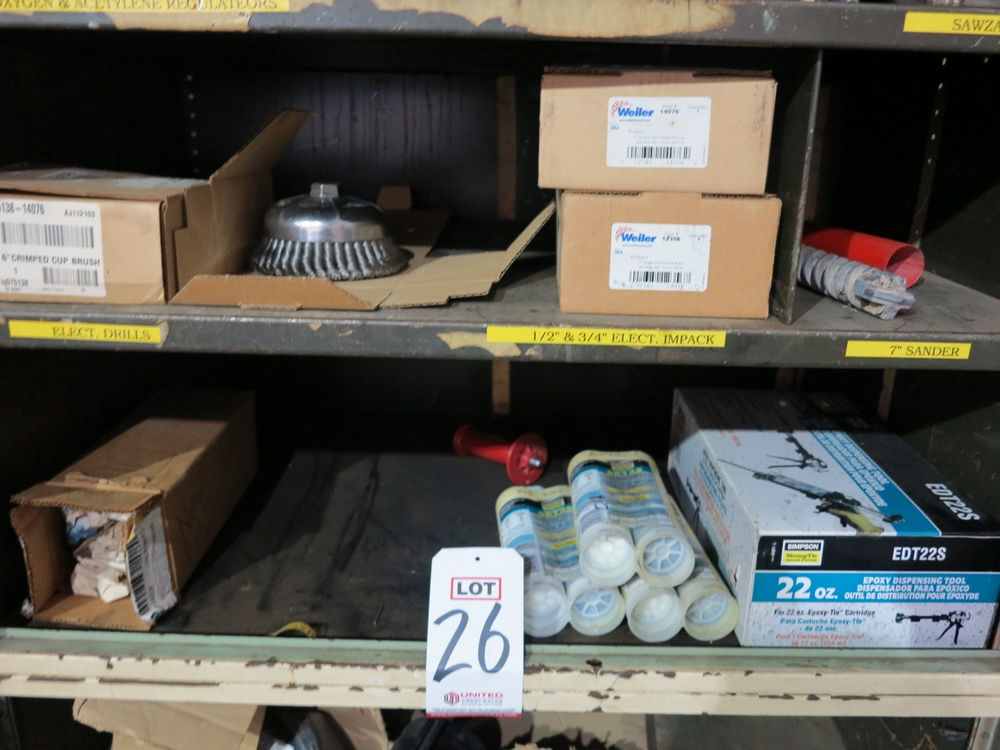 """Lot 26 - 4-DOOR STORAGE CABINET W/ CONTENTS OF SS BRAIDED HOSE, OXY-ACETYLENE HOSE, REGULATORS, 6"""" WIRE CUP"""