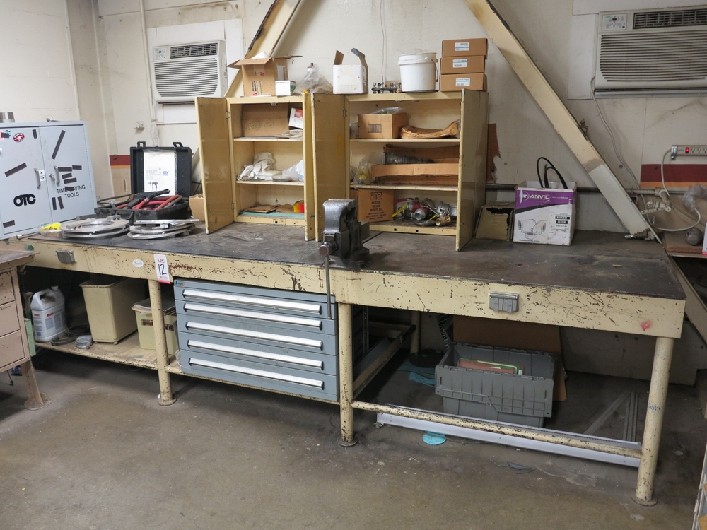 """Lot 12 - LOT - STEEL WORKBENCH, HEAVY DUTY W/ 4-1/2"""" BENCH VISE, 147"""" X 48"""", INCLUDES 5-DRAWER LISTA PARTS"""
