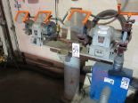 Lot 54 - LOT - HEAVY DUTY PEDESTAL W/ (2) DOUBLE END GRINDERS, BOTH W/ FACE SHIELD GUARDS, INCLUDES (4)