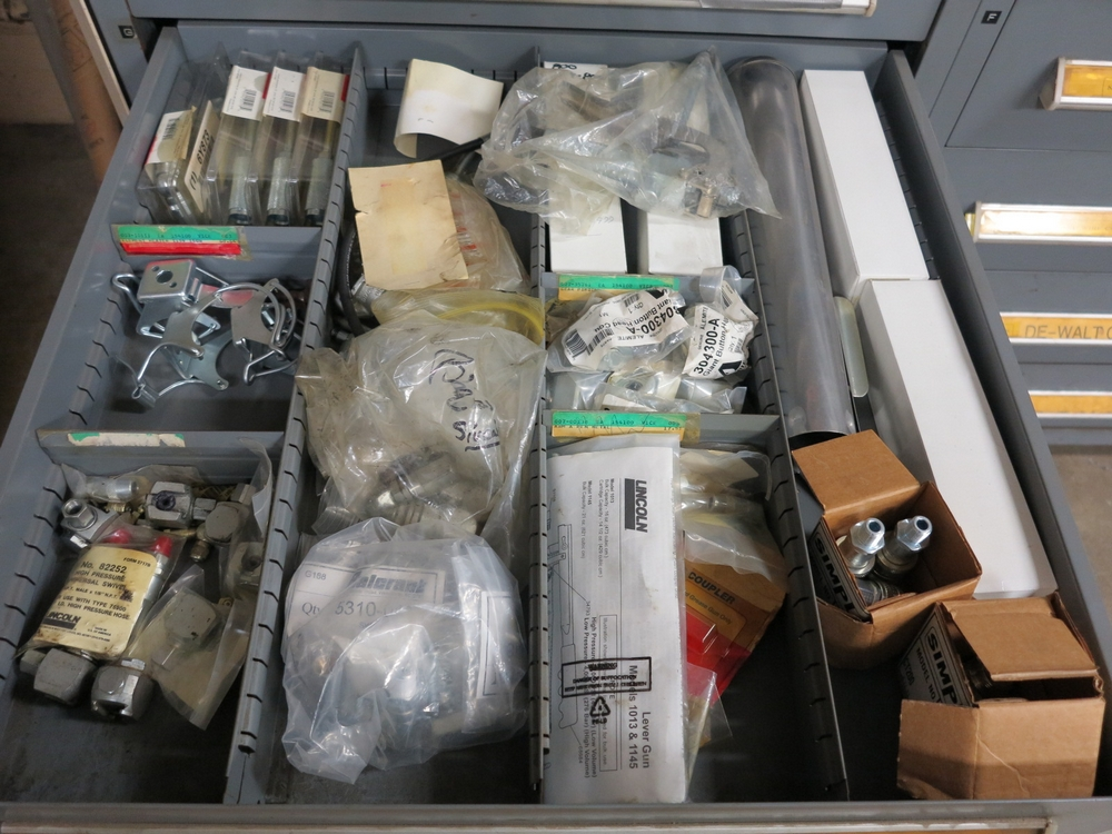 Lot 14 - STANLEY VIDMAR 11-DRAWER PARTS/TOOL CABINET, W/ CONTENTS TO INCLUDE: TAPS, TOOLING, TOOLS, WELDING