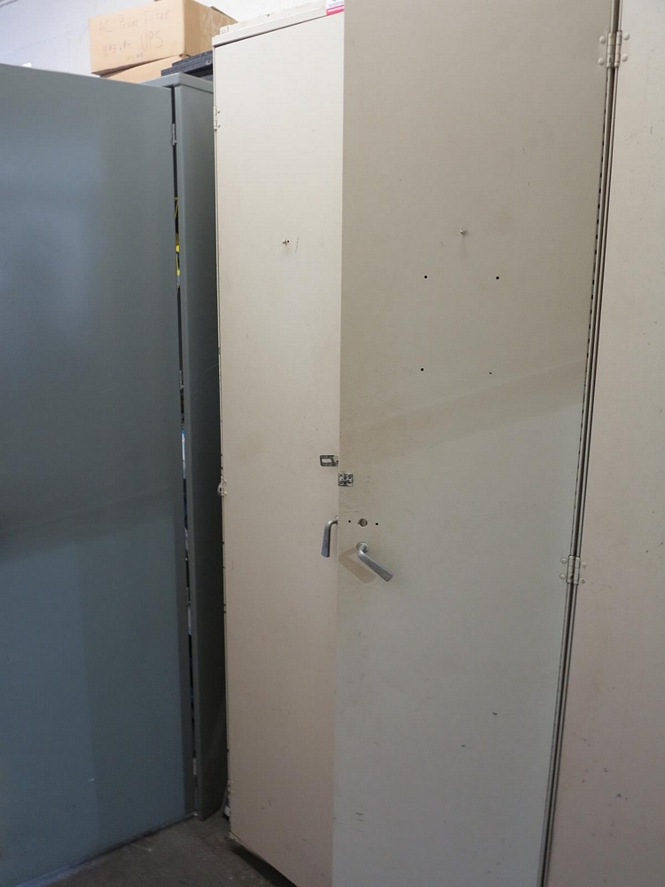 Lot 30 - 2-DOOR STORAGE CABINET W/ CONTENTS TO INCLUDE: CIRCUIT BREAKERS, BREAKER PARTS AND HARDWARE
