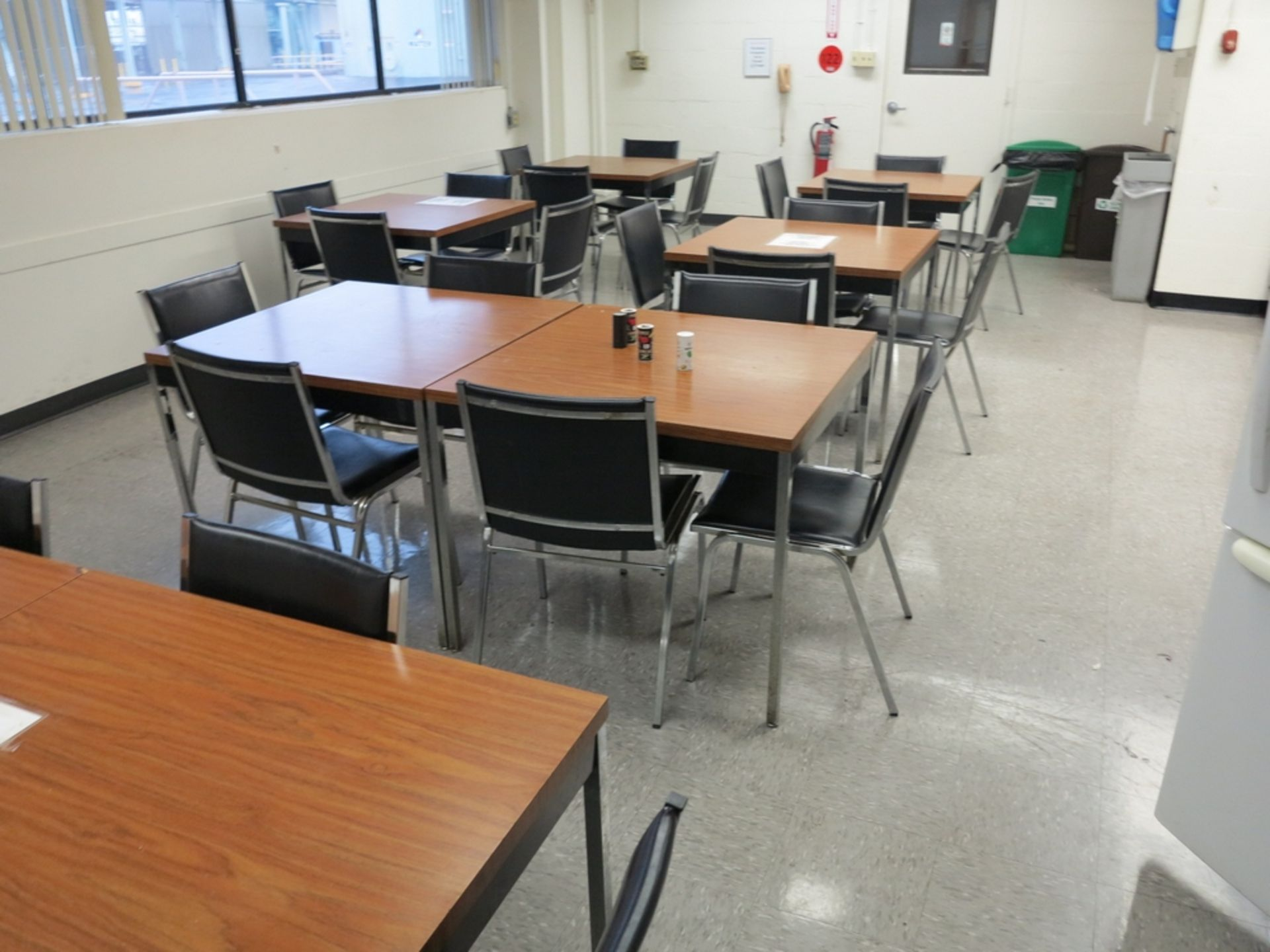 Lot 1 - LOT - CONTENTS OF LUNCHROOM TO INCLUDE: (9) 3' X 3' TABLES, (28) CHAIRS, GE CAROUSEL MICROWAVE, LG