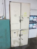 "Lot 26 - 4-DOOR STORAGE CABINET W/ CONTENTS OF SS BRAIDED HOSE, OXY-ACETYLENE HOSE, REGULATORS, 6"" WIRE CUP"